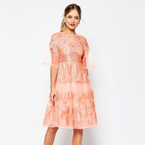 ASOS pink peach salon lace and organza midi dress